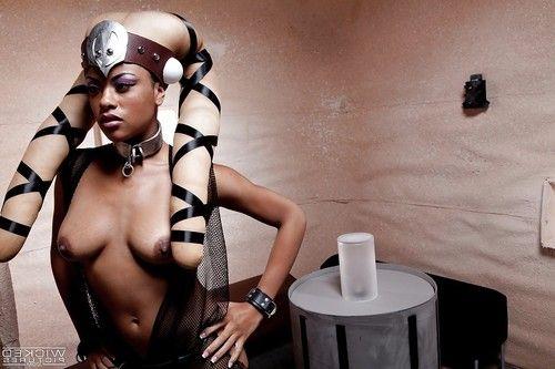 Busty ebony babe Rihanna Rimes masturbating pornstar cunt in cosplay outfit