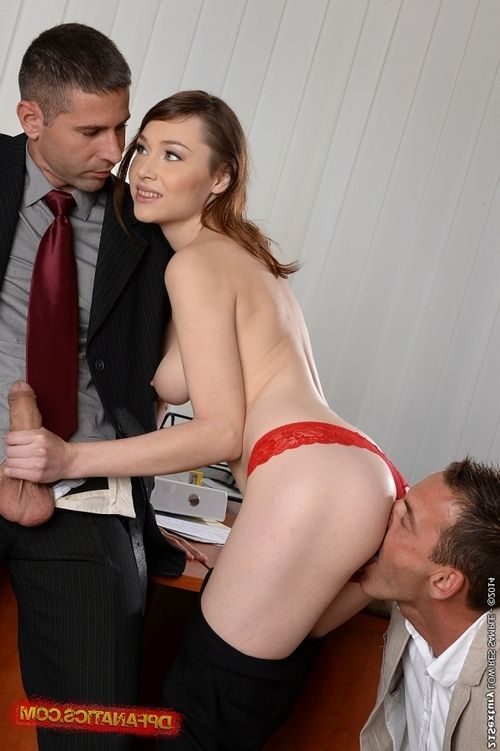 Office lady Macy enjoys threesome and gets double penetrated