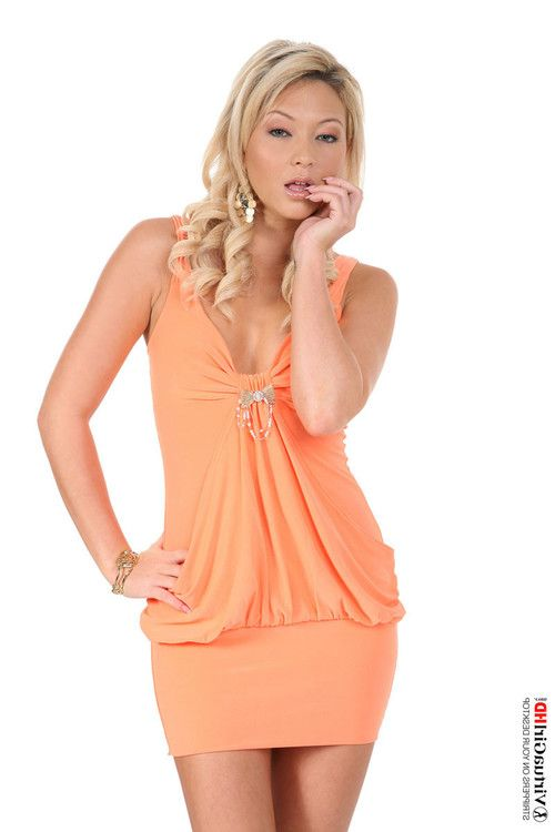 Small tit blonde natalia strips off summer dress
