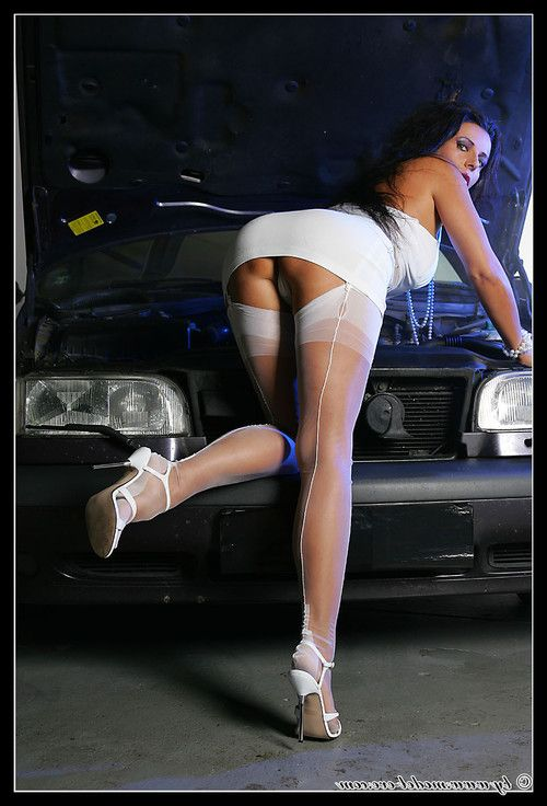 Hot milf in white lingerie at the car