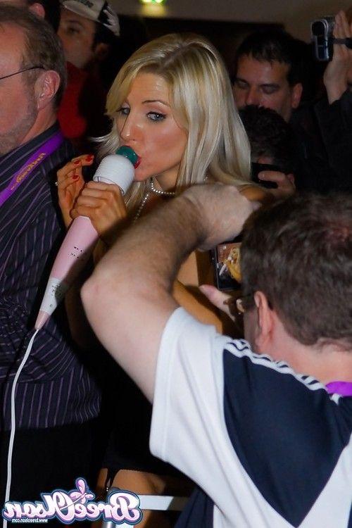 Blonde pornstar Bree Olsen exposing tits before live lesbian sex show