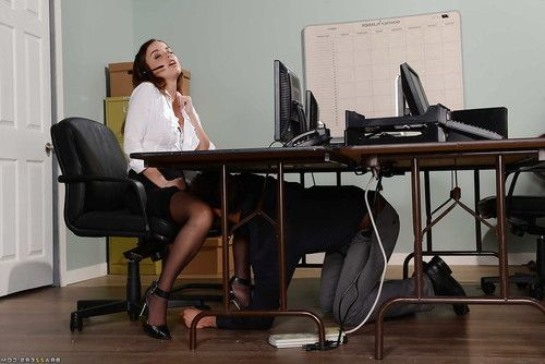Cute secretary Dillion Harper receiving cunnilingus under desk