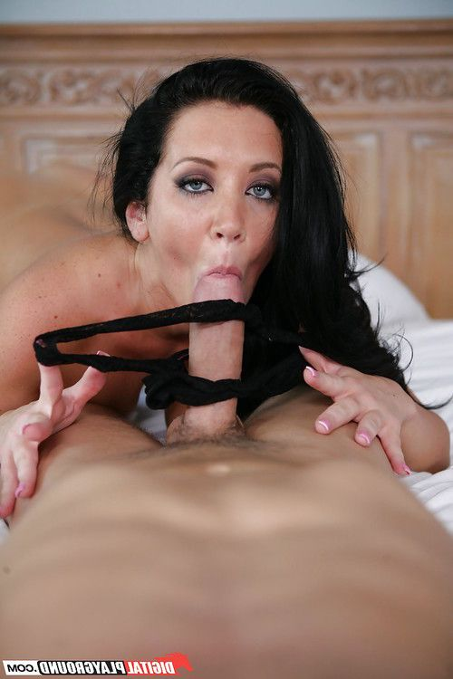 Brunette with big natural boobies Jayden Jaymes performs foot fetish