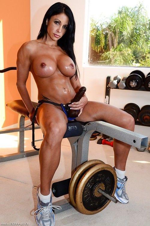 Busty bodybuilder Jewels Jade pegs man in hardcore femdom strapon action