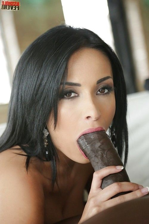 Beautiful Euro babe Anissa Kate giving a blowjob to massive black penis