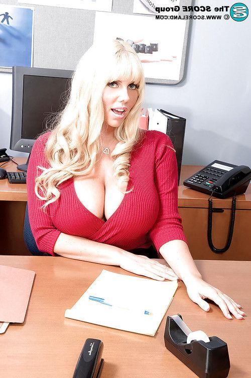 Lusty MILF secretary with huge tits Karen Fisher fucked in office