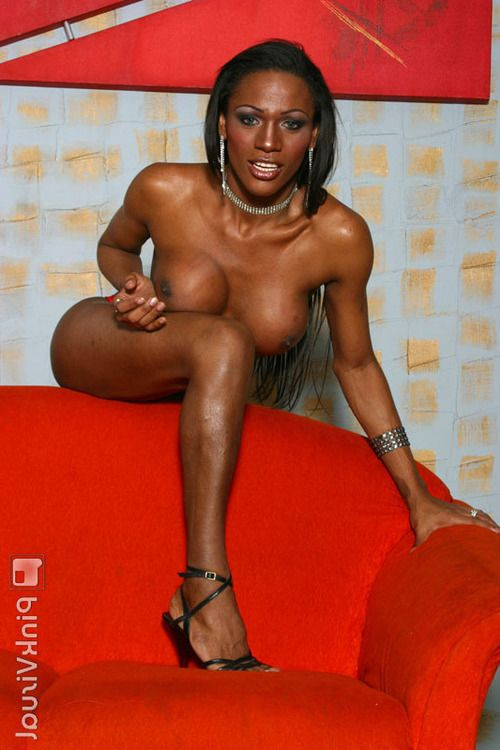 Busty ebony tranny Anarah having her big black cock sucked by stud