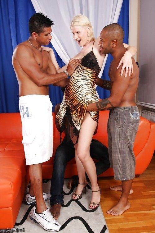 Kim A was fucked by this interracial gang of big black dicks!