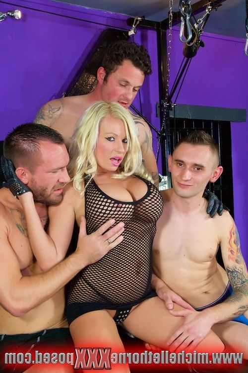 Big tits michelle thorne takes on three long schlongs