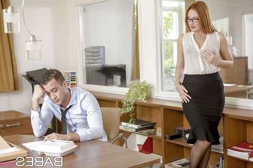 Redhead secretary Eva Berger fucking coworker in nylons and glasses