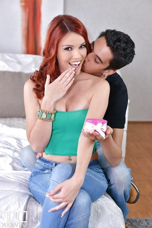 Redhead slut Susana Melo chokes on his big cock after he licks her ass