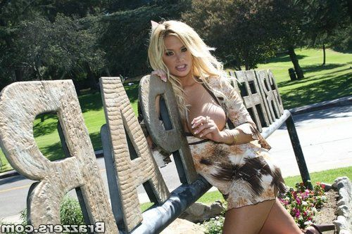 MILF babe in a short skirt Shyla Stylez fucking in public outdoor