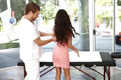 Brazilian brunette pornstar Veronica Rodriguez receiving hot oil massage