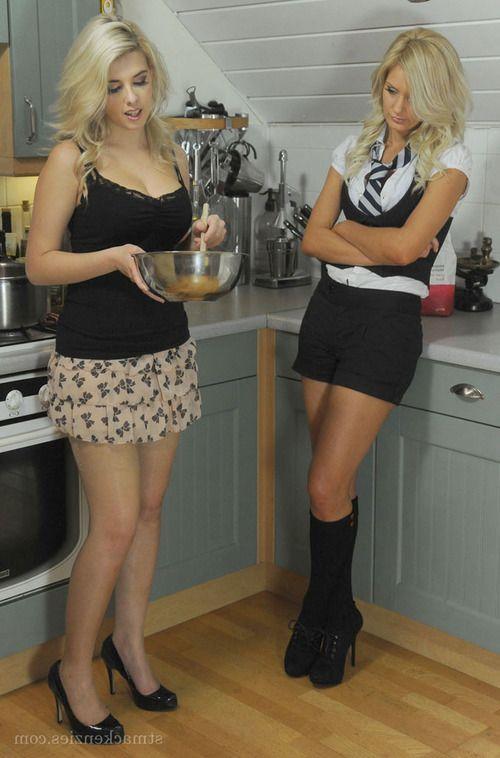Sexy babes Emma-Kate Dawson & Miss Holli having lesbian fun in the kitchen