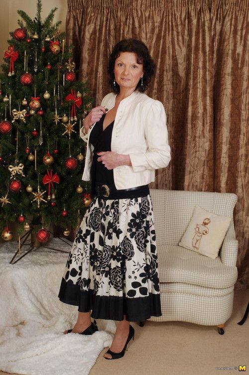 Mature woman having a little christmas party