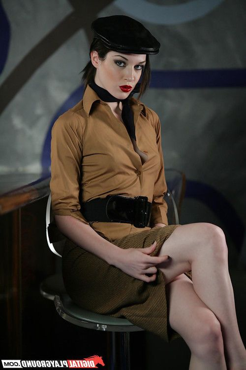 Brunette Stoya is taking off her sexy vintage outfit so slowly