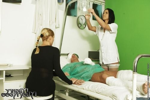 First class blowjob from a busty nurse in uniform Denise Sky