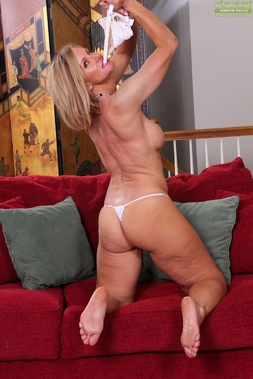 Aged blonde lady Mason Vonne showing off phat thong adorned ass