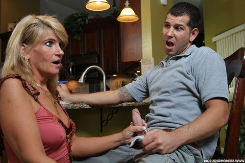 Perverted milf suck her stepsons cock