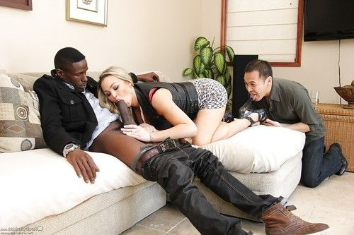 Blonde slut Abbey Brooks taking huge black cock in filthy mouth