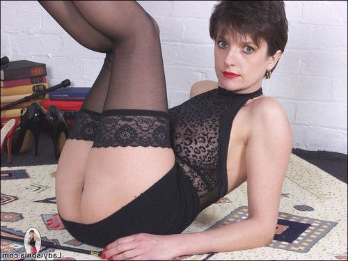 Lingerie nylons and long legs stunning milf dominatrix sonia