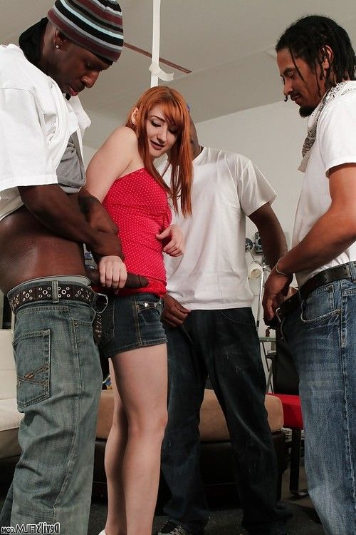 Interracial gangbang session with awesome redhead Violet Monroe