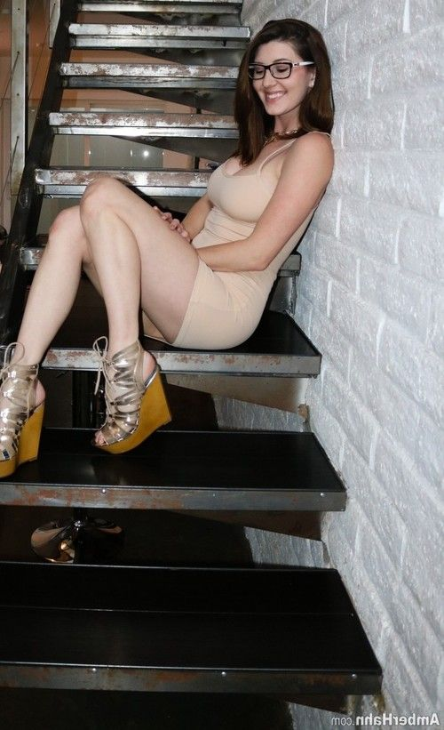 Pretty amber hahn strips off her clothes on the stairs