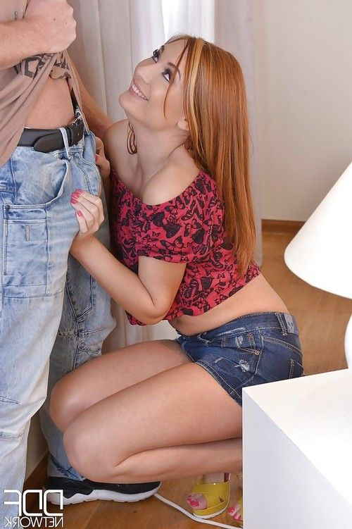 European redhead Eva Berger taking painful vaginal and anal sex