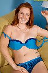 Freckle faced redheaded amateur stripping off bra and panty set to model naked