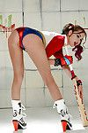 Cosplay attired model Riley Reid exposing tiny tits in pigtails and heels