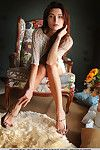 Leggy brunette glam babe displaying shaved teen pussy and barefeet