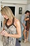 Blonde and brune MILFs with fine breasts pleasing one cock on the floor