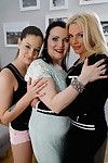 Three old and teen lesbians make out an get