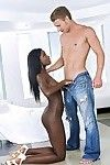 Adorable ebony slut Bonnie Amor sucks and fucks a big white boner