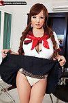 Cute japanese schoolgirl rubs her big boobs