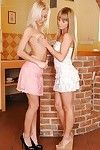 Young Euro blondes Bella Baby and Pinky June tongue kissing and grinding