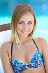 Teen aida peeling off her bikini outdoors by the pool