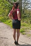 Hot redhead milf jenna sparkles in her silky nylon stockings and