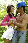 Seductive teen babe gets her pussy fingered and screwed outdoor