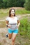 Brunette fitness girl peeling shorts & masturbating with toys outdoors