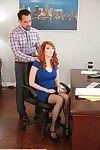 Redhead secretary Lauren Phillips giving co-worker blowjob in office