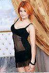 Redhead model Violla A revealing nice teen boobs and tight vagina