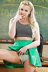 Blonde pornstar Lexi Belle masturbates schoolgirl vagina in classroom