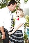 Kinky blonde schoolgirl Dakota strips down and makes out with a hunk