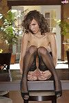Brunette model malena morgan strips in stockings and spreads her pussy