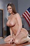 Curvy blonde pornstar Brooklyn Chase showing off big booty in classroom