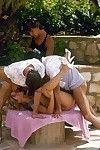 Vintage outdoor threesome sex pics