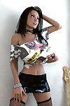 Hot 3d punk rock girl flashing her large boobs