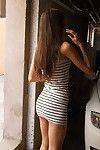 Skinny brunette teen Inez Saldero having fun with herself in public