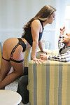 Horny MILF in stockings and heels gets banged hard in raunchy threesome